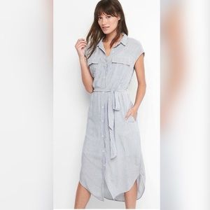 Gap cap sleeve shirtdress blue and white striped